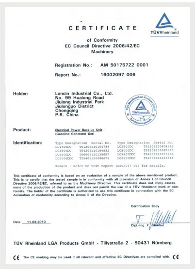 CE CERTIFICATE FOR ENGERATOR