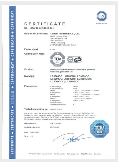 GS CERTIFICATE FOR GENERATOR